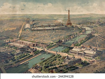 Panoramic view of the Universal Exposition in Paris in 1900. Several are still in use including Gare de Lyon Mus e d'Orsay the Pont Alexandre III the Grand Palais La Ruche and the Petit Palais.