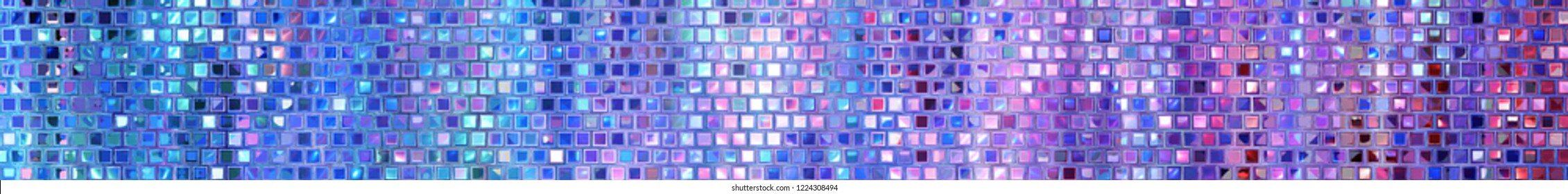 Panoramic violet background texture with mosaic. Geometric mosaic design. Abstract color trendy background. Mosaic texture with geometric shapes.