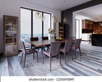 Panoramic windows in luxury dining room with wooden table and leather chairs next to showcase and designer hanging lamps. 3d rendering