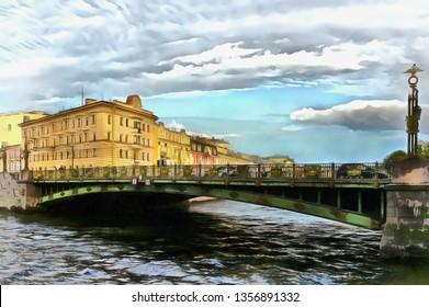 Panteleimon bridge over the Fontanka River in Peterburg