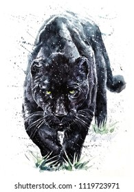 Panther watercolor painting