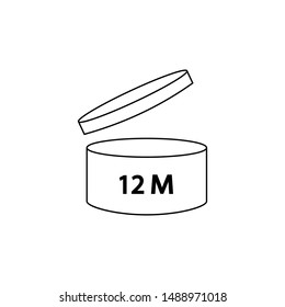 PAO cosmetics symbol 12M, Period after opening symbol 12M . illustration