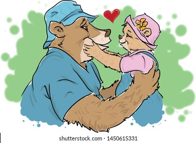 Papa Bear with his little girl