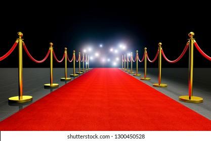 paparazzi flash at red carpet 3d rendering image