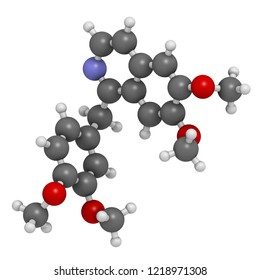 Papaverine opium alkaloid molecule. Used as antispasmodic drug. 3D rendering. Atoms are represented as spheres with conventional color coding: hydrogen (white), carbon (grey), oxygen (red), etc