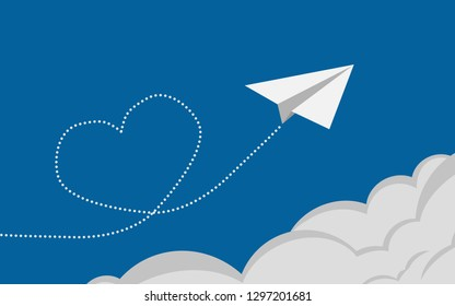Paper aeroplane flying over clouds with heart, 3D rendering
