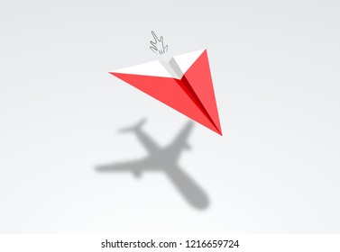 paper airplanes with airliner plane shadow