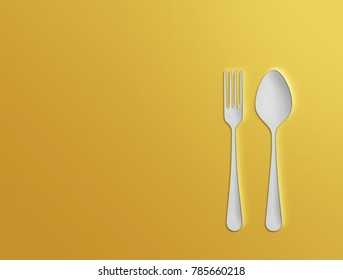 Paper application, fork and spoon. Illustration.