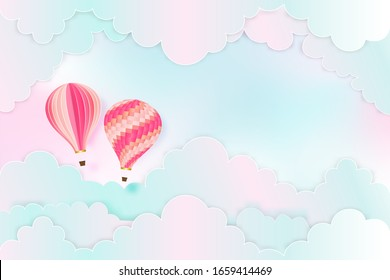Paper art and craft style of Hot air balloons on the pastel sky background as trip and traveling concept.