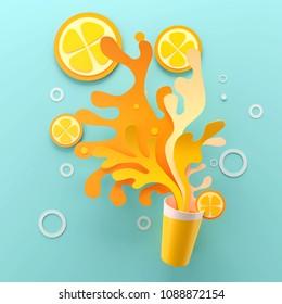 Paper art of Orange Juice with splash, 3d illustration.