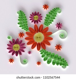 Paper Art Quilling  Filigree Floral Vignette - Sweet 3D Render Papercraft Holiday Flower Bouquet for Greeting Card