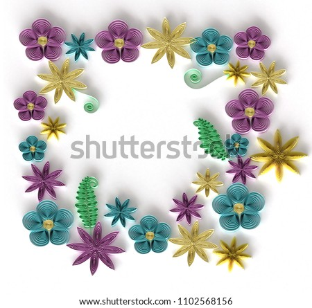 Paper Art Quilling Filigree Floral Frame Stock Illustration ...