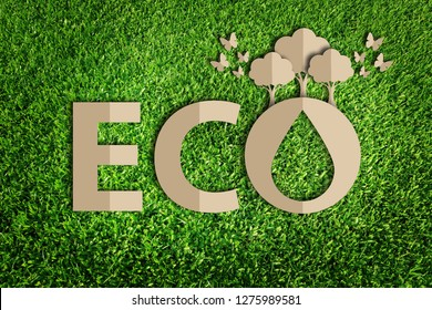 Paper art style of eco concept on green grass background. Save the earth.