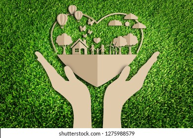 Paper art style of eco on green grass background.  Save the earth.