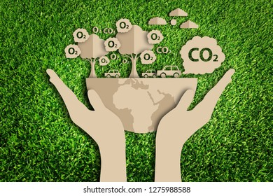 Paper art style of eco on green grass. Carbon dioxide. car exhaust, co2, smoke. Save the earth.