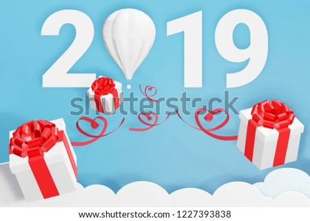 paper art style of happy new year 2019 and balloon scatter gift box in the sky