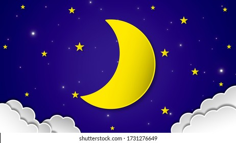 Paper art style Night sky with Waxing crescent moon, stars and clouds on 3d space background. 3d rendering, 3d illustration.