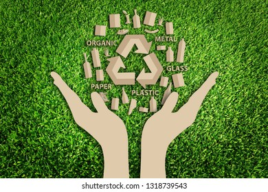 Paper art style of Reuse, Reduce, Recycle concept on green grass. Eco friendly concept. Save the earth.