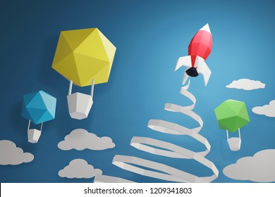 Paper art style of Rocket launch in the sky on a blue background with balloon, Create your own personalized greeting cards for any special occasions, 3D rendering and minimal concept design.