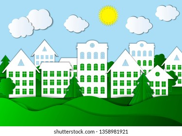Paper Art Style Town, Bright Colors Illustration, Colorful Background.
