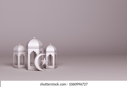 Paper art of white arabic lantern and moon crescent star. Design creative concept of islamic celebration day ramadan kareem or eid al fitr adha. 3d rendering illustration