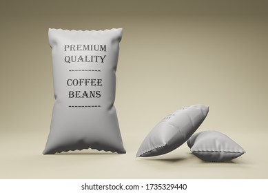 Paper Bag Package Of Premium Coffee BEANS. Mock up 3D render.