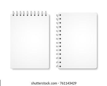 Paper blank notebooks, spiral notepads 3d illustration