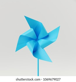 Paper blue windmill isolated on white background. minimal concept 3d rendering