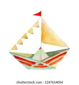 Paper boat drawn watercolor by hand.