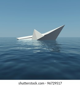 Paper boat is sinking into the sea. 3D rendering