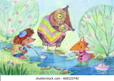 Paper boats. Watercolor painting of baby fox, urchin and owl leting paper boats.