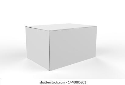 Paper Box Mockup on a white background. 3d illustration