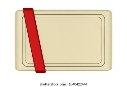 Paper card with red stripe 3D Illustration