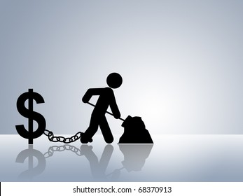 paper chain figures working to earn money without having a real life money slave job slave workaholic earning money occupation