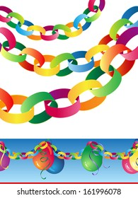 Paper chains decoration with traditional balloons and streamers banner