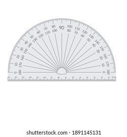 Paper circular protractor with a ruler in metric units.