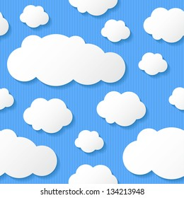 paper clouds on blue background, seamless pattern