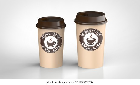 paper coffee cup large and middle logo 3d rendering