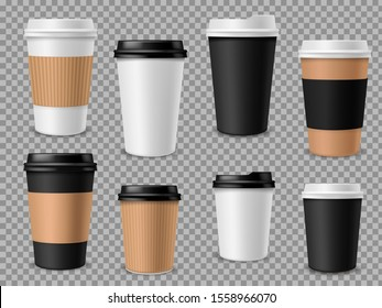 Paper coffee cups set. White paper cups, blank brown container with lid for latte mocha cappuccino drinks realistic 3d mockups for street cafe