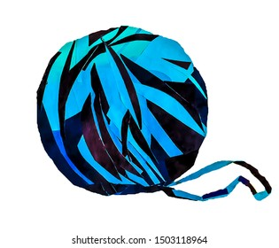 Paper collage of blue thread skein (applique) on white background in jpeg