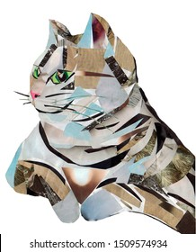 Paper collage cat on white background in jpeg (applique)