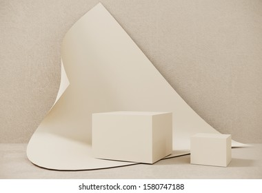 Paper composition of geometric object, boxes.Podium, stand made of paper on background of swirling sheet with copy space. Mock up for the exhibitions, presentation of products,shoes - 3D, render.