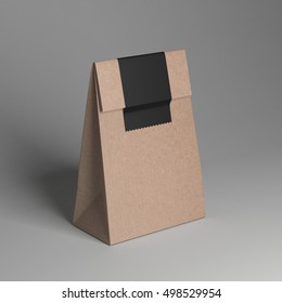Paper cup and paper bag mockup, 3D rendering illustration