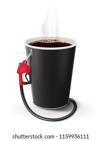Paper cup of coffee with dispenser. Metaphor coffee is power for people. Creative 3d illustration