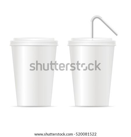 Paper Cup Template For Soda Or Cold Beverage Set Illustration