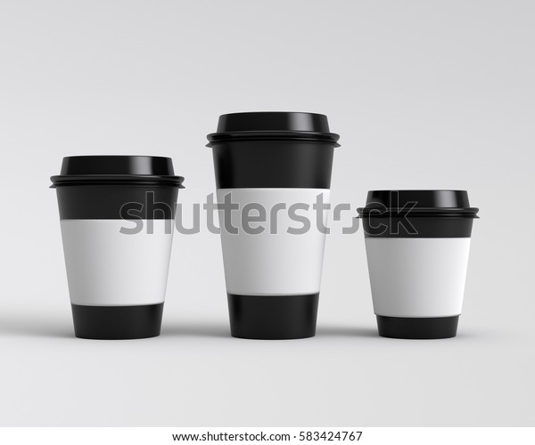 Paper cups with caps isolated on gray background, 3D rendering