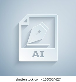 Paper cut AI file document. Download ai button icon isolated on grey background. AI file symbol. Paper art style