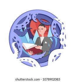 Paper cut art about Howard Lovecraft holding a book and surrounded by tentacles