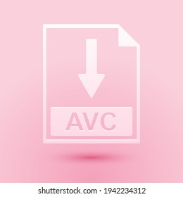 Paper cut AVC file document icon. Download AVC button icon isolated on pink background. Paper art style