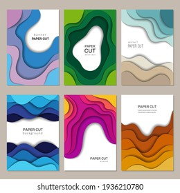 Paper cut banners. abstract origami cutting waves with shadows decoration frames brochure layout